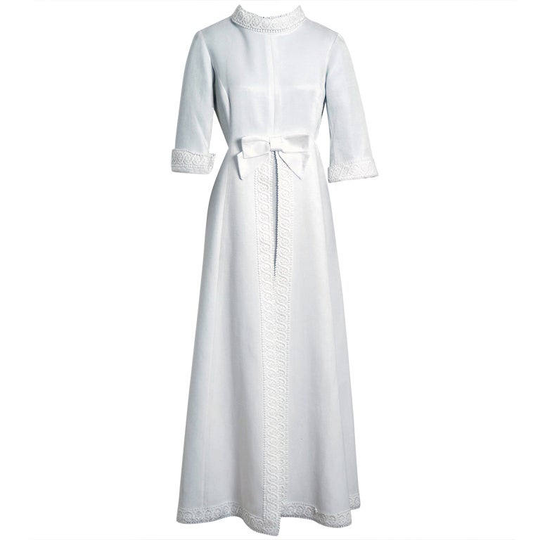 1960's Maggy Rouff Crisp-White Cotton Lace Tea-Length Gown For Sale