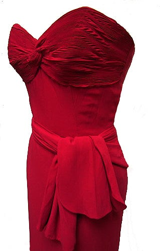 1940's Cranberry-Red Strapless Crepe Pleated-Back Evening Gown 3