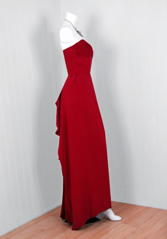 1940's Cranberry-Red Strapless Crepe Pleated-Back Evening Gown 4