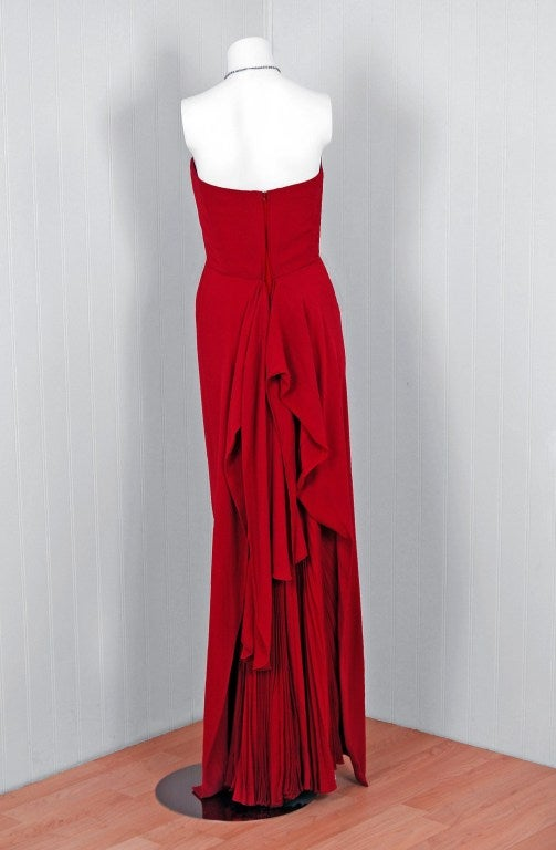 1940's Cranberry-Red Strapless Crepe Pleated-Back Evening Gown 6