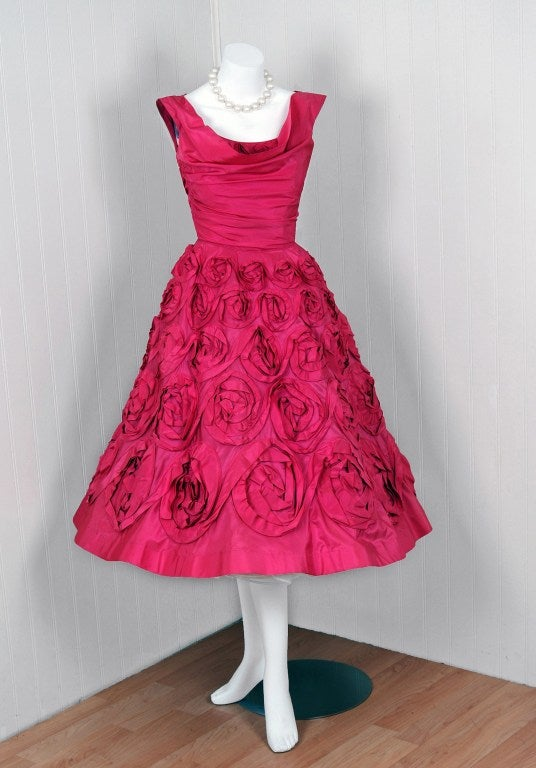 1950's Ceil Chapman Roses-Swirl Pink Taffeta Full Party Dress image 2