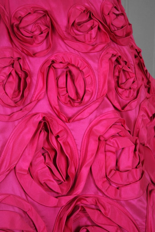 1950's Ceil Chapman Roses-Swirl Pink Taffeta Full Party Dress image 4