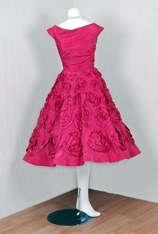 1950's Ceil Chapman Roses-Swirl Pink Taffeta Full Party Dress image 5