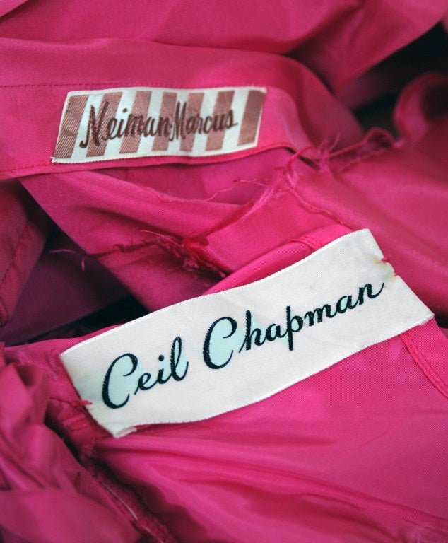 1950's Ceil Chapman Roses-Swirl Pink Taffeta Full Party Dress image 6