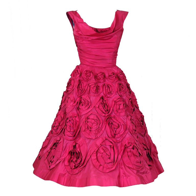 1950's Ceil Chapman Roses-Swirl Pink Taffeta Full Party Dress