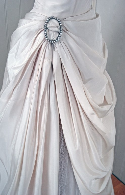 1950's Ivory-White Strapless Draped-Swag Taffeta Starlet Gown 4