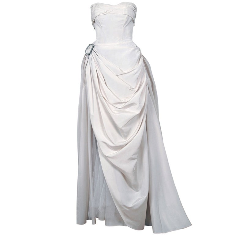 1950's Ivory-White Strapless Draped-Swag Taffeta Starlet Gown 1