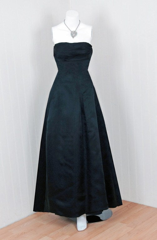 1950 S Givenchy Black Organza Numbered Couture Evening