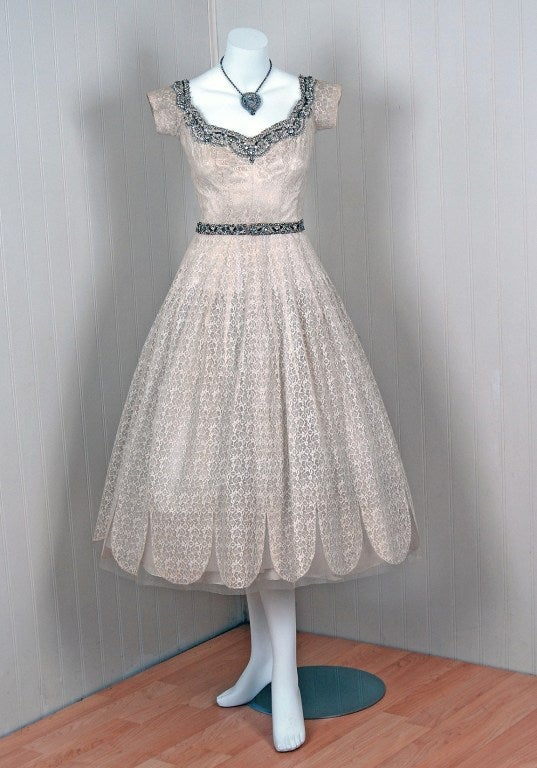 1950's Norman Hartnell Beaded Ivory-Creme Lace & Satin Dress image 2