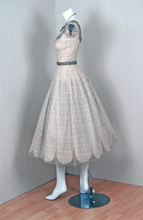 1950's Norman Hartnell Beaded Ivory-Creme Lace & Satin Dress image 3