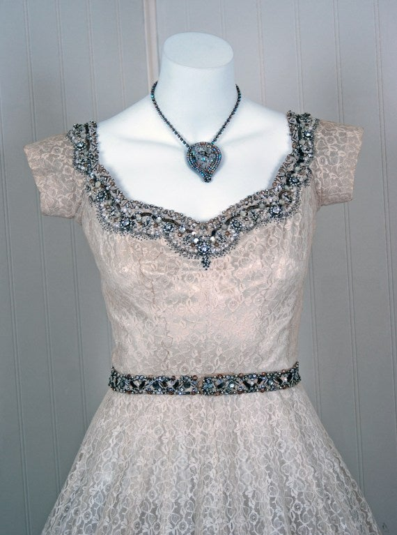 1950's Norman Hartnell Beaded Ivory-Creme Lace & Satin Dress image 4
