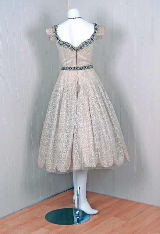 1950's Norman Hartnell Beaded Ivory-Creme Lace & Satin Dress image 6