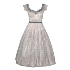 1950's Norman Hartnell Beaded Ivory-Creme Lace & Satin Dress