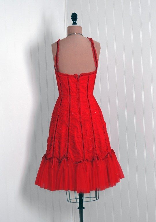 1990's Beville Sassoon Ruby-Red Sequin Ruched Tulle Fishtail Cocktail Dress 6