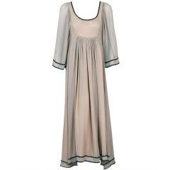 1970's Thea Porter Ecru-Chiffon Metallic Threaded Grecian Gown