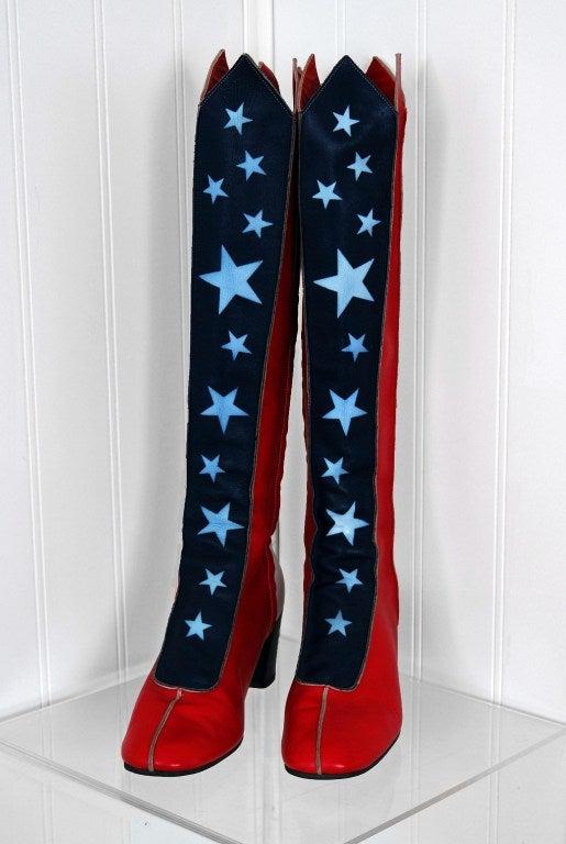1960 S Wonder Woman Patriotic Knee High Leather Go Go