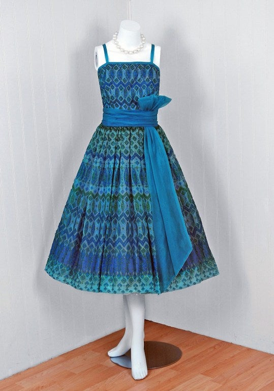 1950's Peacock-Blue Metallic Silk Organza Peplum Party Dress 2