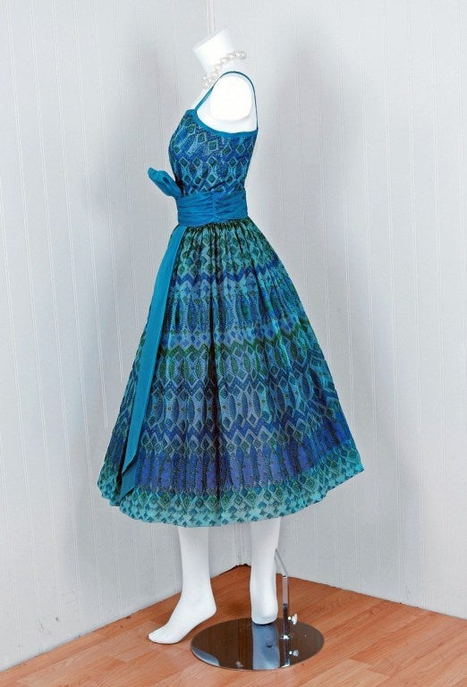 1950's Peacock-Blue Metallic Silk Organza Peplum Party Dress 6