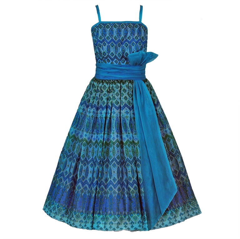 1950's Peacock-Blue Metallic Silk Organza Peplum Party Dress 1