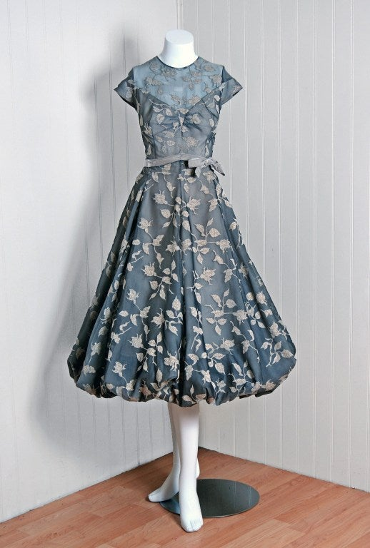 1950's Madame Gres Metallic Rose-Print Silk Draped-Bubble Dress image 2