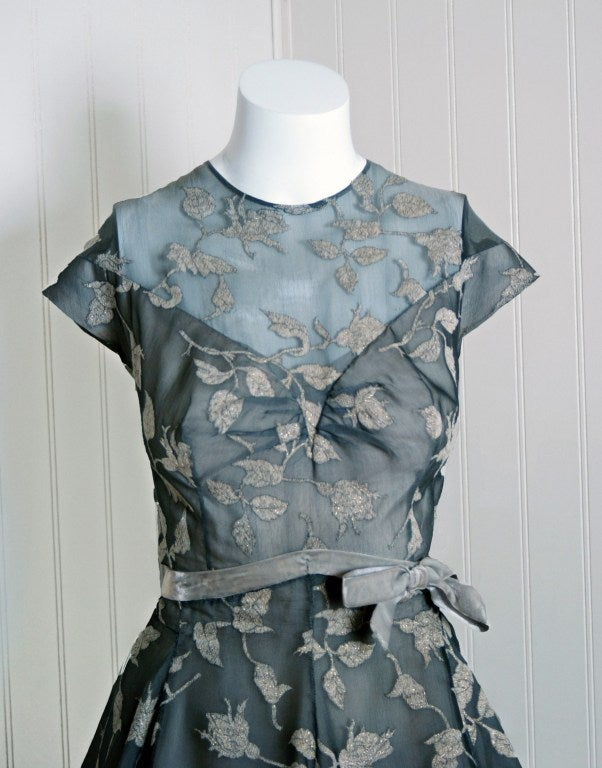 1950's Madame Gres Metallic Rose-Print Silk Draped-Bubble Dress image 3