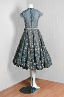 1950's Madame Gres Metallic Rose-Print Silk Draped-Bubble Dress thumbnail 5