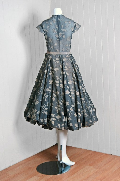 1950's Madame Gres Metallic Rose-Print Silk Draped-Bubble Dress image 5