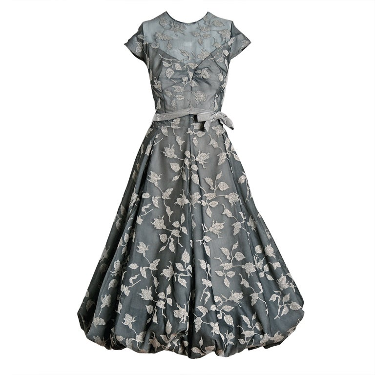 1950's Madame Gres Metallic Rose-Print Silk Draped-Bubble Dress