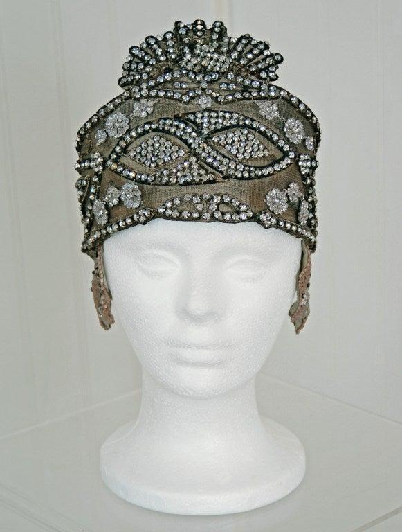 1920's Opulent Gold-Lame Rhinestone Beaded Headpiece 2