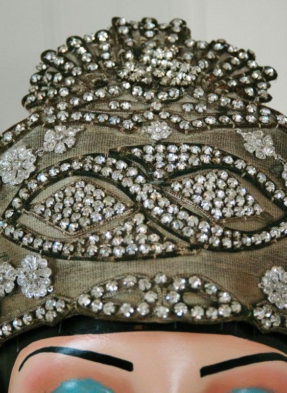 1920's Opulent Gold-Lame Rhinestone Beaded Headpiece 4