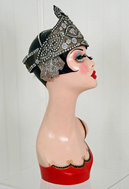 1920's Opulent Gold-Lame Rhinestone Beaded Headpiece 5