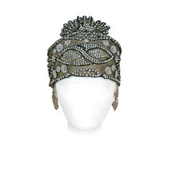 1920's Opulent Gold-Lame Rhinestone Beaded Headpiece