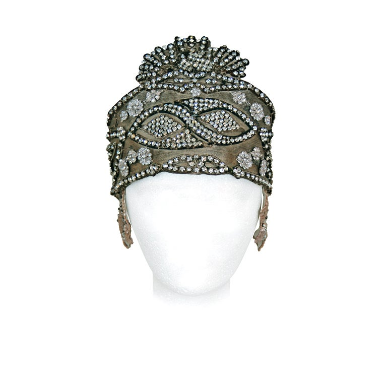 1920's Opulent Gold-Lame Rhinestone Beaded Headpiece 1