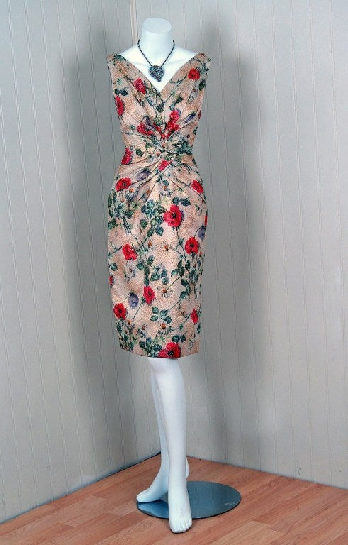 1950's Ceil Chapman Metallic Floral Silk-Brocade Cocktail Dress 2