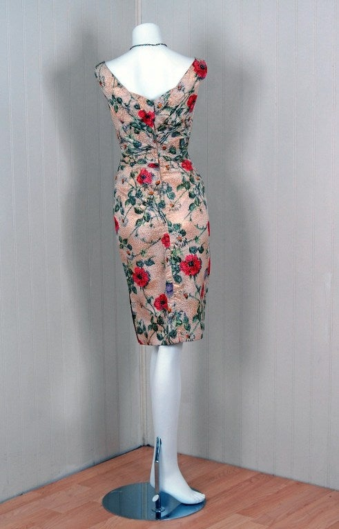 1950's Ceil Chapman Metallic Floral Silk-Brocade Cocktail Dress 5