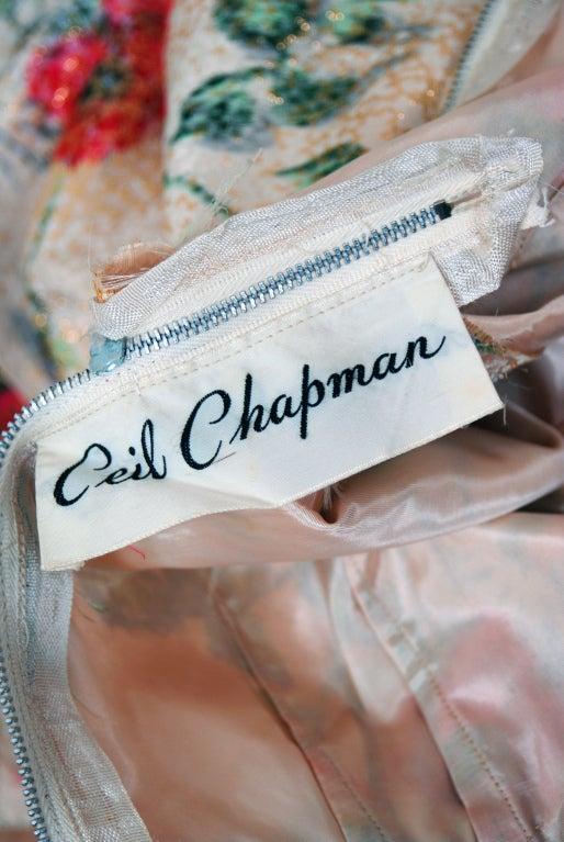 1950's Ceil Chapman Metallic Floral Silk-Brocade Cocktail Dress image 6