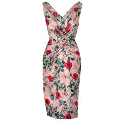 1950's Ceil Chapman Metallic Floral Silk-Brocade Cocktail Dress