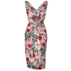 1950's Ceil Chapman Metallic Floral Silk-Brocade Cocktail Dress