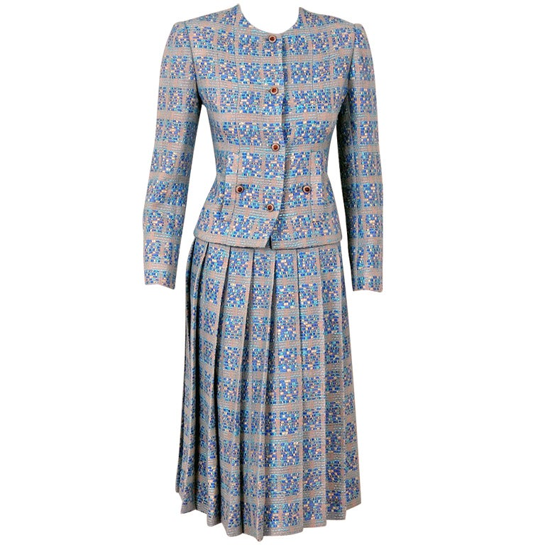 1970's Chanel Ribbon-Weave Wool Pleated-Skirt Fitted Dress Suit For Sale