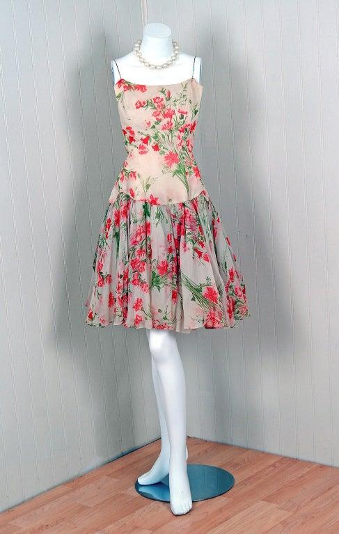 1960 S Watercolor Floral Garden Print Silk Chiffon Party