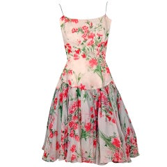 1960's Watercolor Floral-Garden Print Silk-Chiffon Party Dress