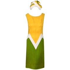1960's Block-Color Mod Linen Shift Dress & Matching Turban-Hat