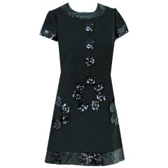 1960's Geral Paris Space-Age Mod Black Sequin-Wool Mini Dress