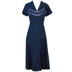 1940's Howard Greer Navy-Blue Beaded Silk-Rayon Cocktail Dress
