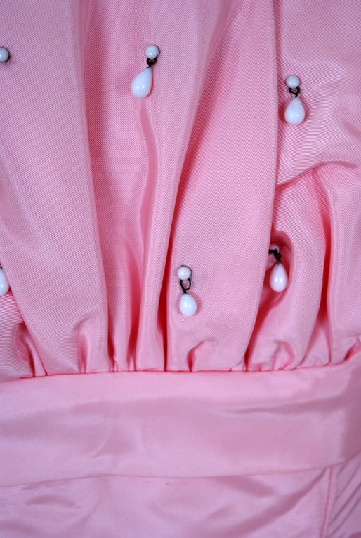 1950's Champagne-Pink Taffeta & Tulle Petal-Bust Strapless Gown 5