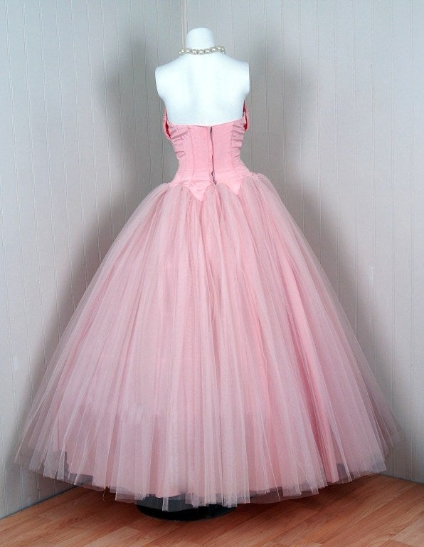 1950's Champagne-Pink Taffeta & Tulle Petal-Bust Strapless Gown 6