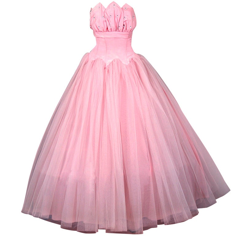 1950's Champagne-Pink Taffeta & Tulle Petal-Bust Strapless Gown 1