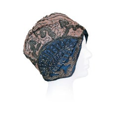 1920's Beaded Metallic Blue & Champage Silk Flapper Cloche Hat