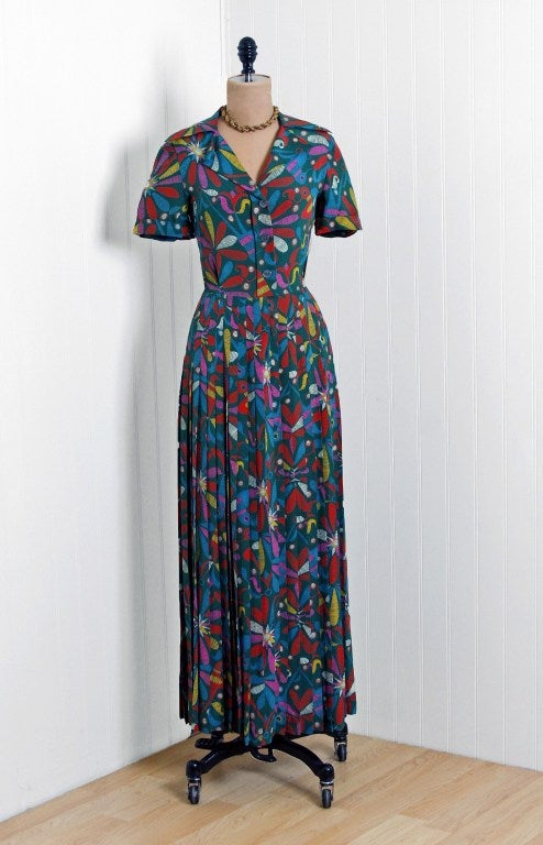 1970's Valentino Colorful Bird-Garden Print Silk Maxi Pleated Dress & Jacket 2