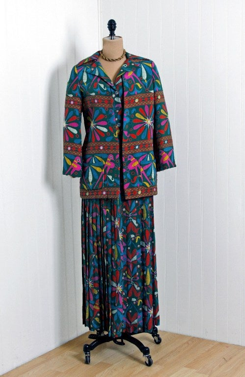 1970's Valentino Colorful Bird-Garden Print Silk Maxi Pleated Dress & Jacket 3